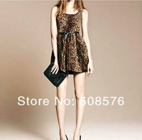 Женское платье Sexy queen classical qualtiy Leopard sleeveless dress with belt