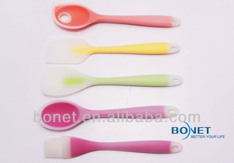KSU0016 FDA transparent 5 pcs silicone utensil