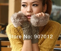 Женские перчатки Autumn and Winter Imitation Rabbit fur Women Wool Gloves / Half-finger Gloves / Knitted Mittens Lengthen