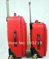 Дорожная сумка Brand new EMS shipping women PU top leather trolley luggage sets case 22 inch 24inch red color PP luggage