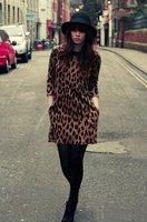Женское платье Spring Leopard Dresses Jersey Dress 3/4 Long Sleeves Brand Print Knee-length Peter Pan Collar Loose Vintage A-line Casual Dress
