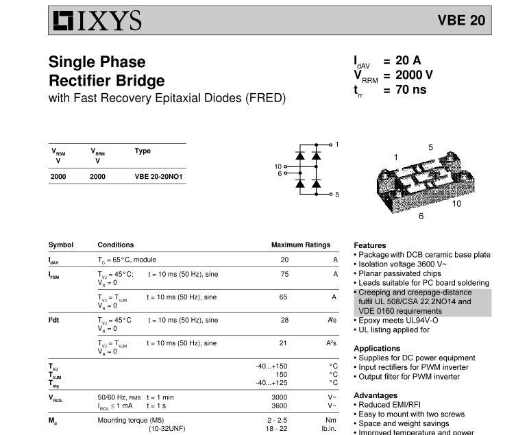 IXYS VBE 20 Single Phase Rectifier Bridge