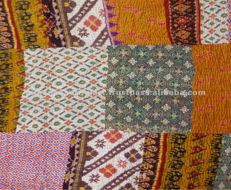 Indien multicolore patchwork kantha cru couette jet couvre for Housse de couette patchwork