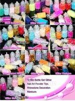 10x 12 Mini Bottle Set Glitter Nail Art Powder Tips Rhinestone Decoration Manicure Free Shipping