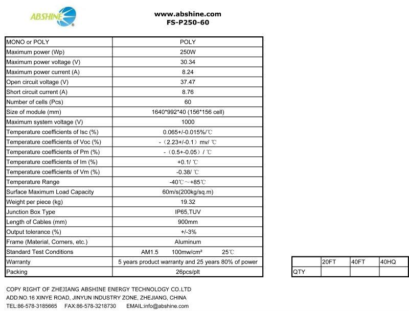 Best price per watt evacuated solar panels of FS-P250-36