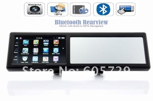 Rearview Mirror Car Gps Navigation System Bluetooth Support Garmin/igo/r66 Map gps navigator for car Can Choose Camera