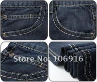Мужские джинсы New Super Popular Hot Summer Thin Dual Buttons Decorative Men's Straight Jeans #202 Explosion Models Blue-black