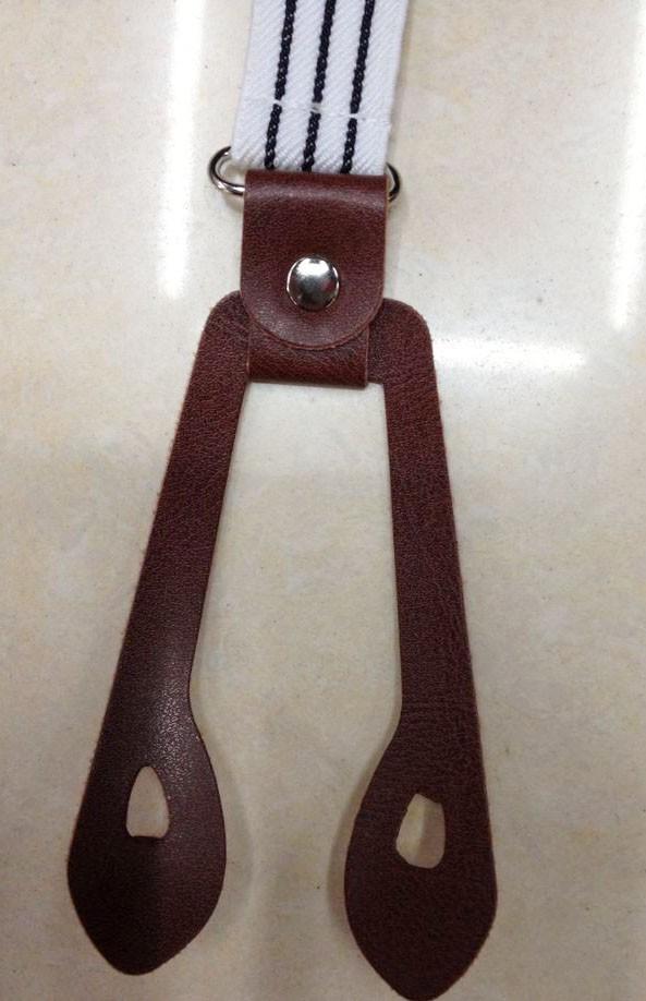 2014  Стильs 1 дюйм Wide Женщины/Men Черный and Белый Striped Elastic Кнопка Braces/Suspenders With Leather Кнопка