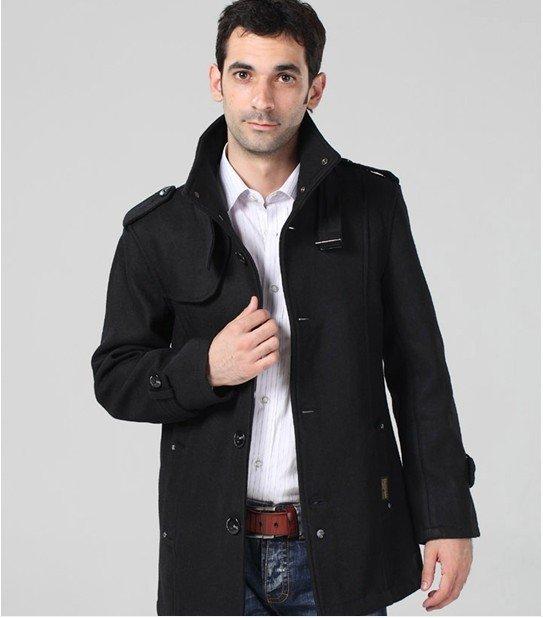 Wholesale-Men&39s Wool Coat Overcoat Double-breasted Trench Coat