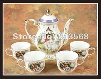 2012 New arrival 16pcs  bone china coffee / tea set, ENGLAND LOYALITY STYLE, elegant IVORY porcelain coffee pot, FREE SHIPPING