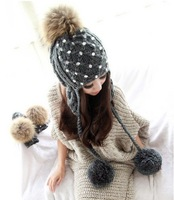 2012 Autumn Women' s New Design Big Faux Fur Ball Winter Knitted Ear Protected Warm Hats, freeshipping