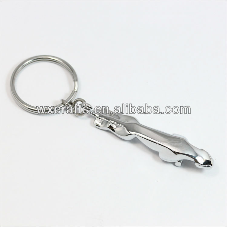 chrome plated 3D Jaguar keychain