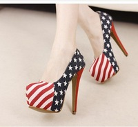 Туфли на высоком каблуке/drop shipping, 2012 platform pumps, fashion flag, mixed colors, party, sexy high heels shoes women