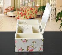 Коробка для хранения Special creative pastoral wooden storage box cosmetic skincare Desktop multifunction finishing box storage box with mirror