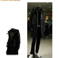 Мужской тренч Men's Fashion Men's Fall 2010 Men's Hooded Long Trench Coat a large pocket design / windbreaker in the long section of men do fr