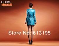 2013 o-neck medium-long slim sheepskin leather clothing nvchen leather coat /ydx181