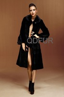 2012 Winter Woman Warm Genuine Rex Rabbit and Mink Fur Coat With Hooded /Wholesale/Retail/OEM QD22242 A G
