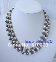 "Колье-цепь 50"" 7-8mm round freshwater white& black real pearl necklace"
