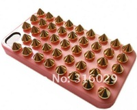 10pcs/lot Free shipping DIY Stud Bullet punk style Case Cover For iPhone 4 4S studded case,10 color+retail Package