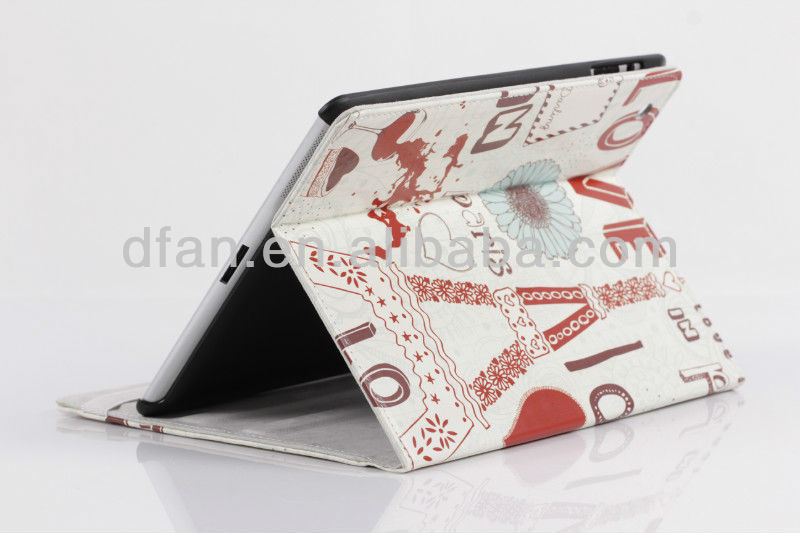 Hot selling printed book leather case for ipad mini