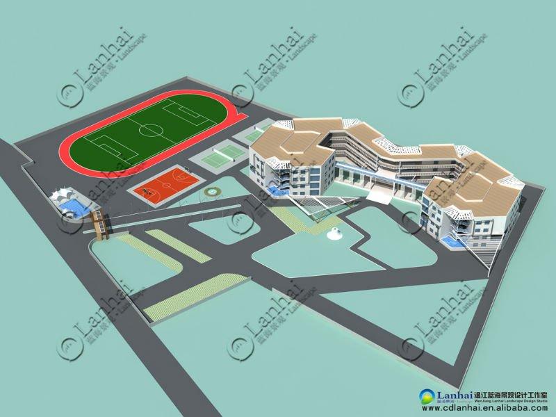 School Building Aerial View 3d