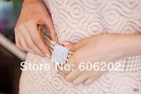 2 цвета, эластичные пластиковые жемчуг поясом с пряжкой горный хрусталь, #bt670 130101