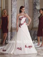 Свадебное платье 2012 New A-Line White/Red Flowers Wedding Dress Custom size