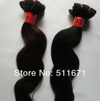 "100% Brazilian Peruvian human hair extensions machine weft free shipping 16'' -24"" color1b &2# body weave 4pcs/lot  MLF003"