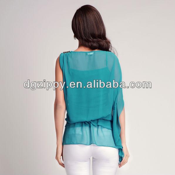 ladies korean fashion flounce chiffon shirts