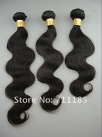 DHL free shipping 3pieces/lot(mix length like 16, 18 and 20) remy virgin brazilian hair body wave, natural color