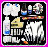 Набор для маникюра DIY Supplies Nail Art Professional UV GEL French NAIL KIT Acrylic SET & 15pcs Nail Art Pen /Brush Kit Manicure Tool