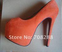 Туфли на высоком каблуке 160mm women shoes suede high heel shoes ladies high heels platform pumps open toe genuine leather