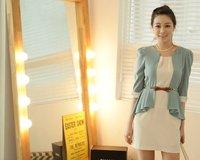 2012 New fashin women's three quarter sleeve dress-White & Green#12300