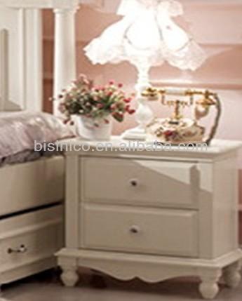 Pure White Design Kid Bedroom Furniture Wood Carved