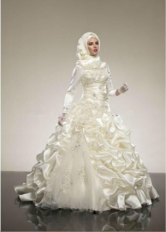 2014 Ivory Ball Gown Satin Long Sleeve Hijab Top Designs Muslim Arabic ...