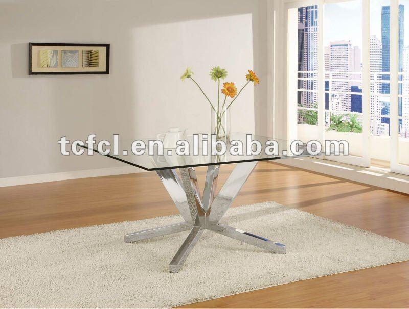 Tavoli Sala Da Pranzo Vetro: Tavoli da sala pranzo in vetro per ufficio con fusto acciaio.