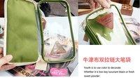 Сумка для канцелярии 2013 Transparent Oxford cloth double zipper pencil case TK12-203 22.5*12.5cm
