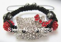 Браслет из бисера Merry Christmas 5Pcs/Lot Handmade Crystal Beads Children Baby Kids Bracelets Hello Kitty Shamballa Bracelets Bangles Charm