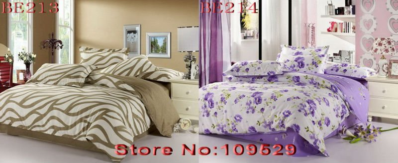 Purple romantic sexy flower pattern reactive printed bed sheets duvet/quilt covers sets 4pcs for Full/Queen comforter bedding A5