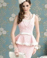 Женское платье 2013 women Lace O-neck t Slim Fashion Dresses, casual ladies dresses, Brand Summer clothing