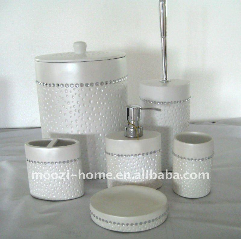 Argent blanc r sine meubles de salle de bains wc ensemble for Ensemble accessoires salle de bain