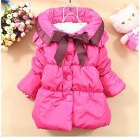 Пуховик для девочек 2013 girl solid big bow cotton coat children winter clothing 2 colors A46 high quality