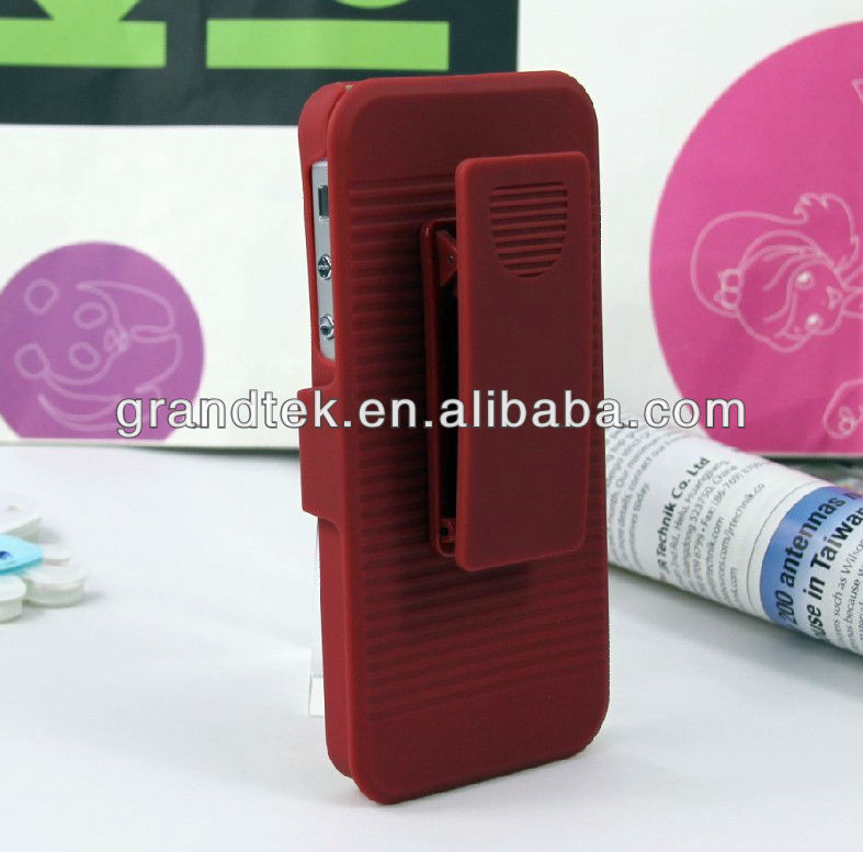 Pink Holster Belt Clip Combo Hard Case Phone Cover For iPhone 5