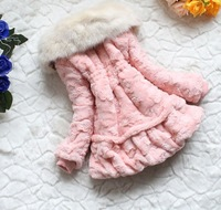 Куртка для девочек fall and winter clothes Fashion children coat Sweet girls winter clothes Kids fur collar