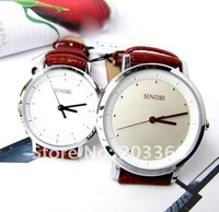 Наручные часы 5pcs Leisure SINOBI Leather Pair Analog watch Holiday Gift 9319