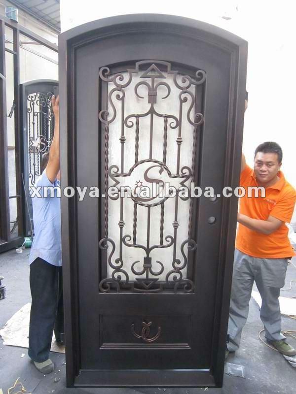 De hierro forjado puerta de doble entrada burletes de for Puertas hierro forjado exterior