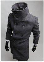 большая! Новый мужской куртки, Мужская верхняя одежда тонкий двойной грудью шерстяные пальто цвет: черный, серый размер: m-xxl