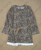 Платье для девочек Hotsale Leopard Longsleeve Girls Dress with Belt 5 Size for 2 to 8year Good quality Pretty Design 5pcs/lot
