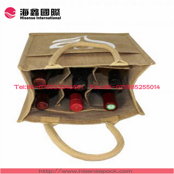 bamboo Tote Handle Jute Bags for one bottle