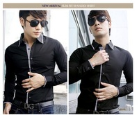 free shipping 2012 new leisure slim fit shirts for men stylish  long sleeve cotton shirts ,black,white ,M,L.XL 6351